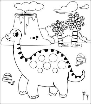 Activité de peinture avec le thème des dinosaures pour les enfants illustration vectorielle