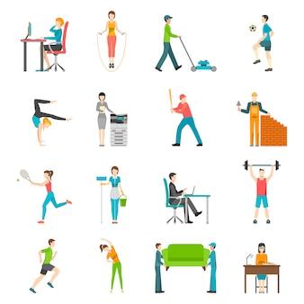 Activité physique plat icônes