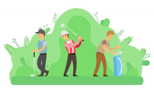 Activité de plein air, hommes jouant au golf avec des putters