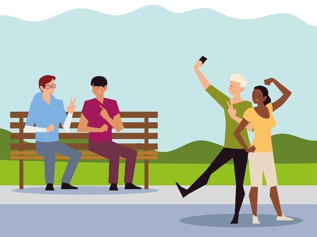 Activité de plein air de personnes, couple prenant selfie et hommes assis sur l'illustration du parc banc