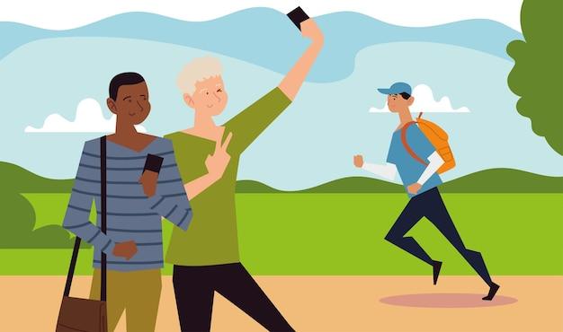 Activité de plein air de personnes, deux garçon prenant selfie et homme qui court dans l'illustration du parc