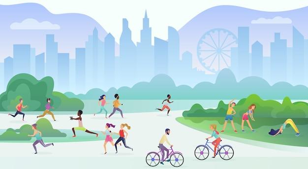 Activité de plein air de sport physique dans le parc public de la ville