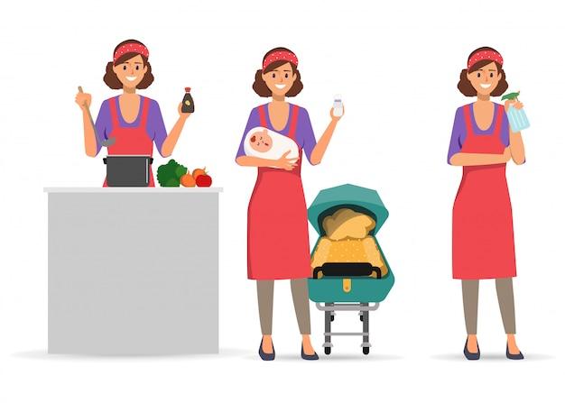Activité quotidienne de la ménagère caractère faire.