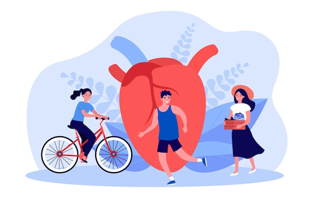 Activité quotidienne de personnes minuscules près du grand cœur. personnes faisant du vélo, courir, manger des aliments de la ferme illustration vectorielle à plat. mode de vie pour le concept de santé cardiaque pour la bannière, la conception de sites web ou la page web de destination
