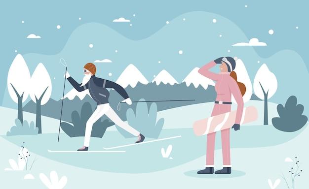 Activité saine de sport d'hiver avec des personnages de dessin animé