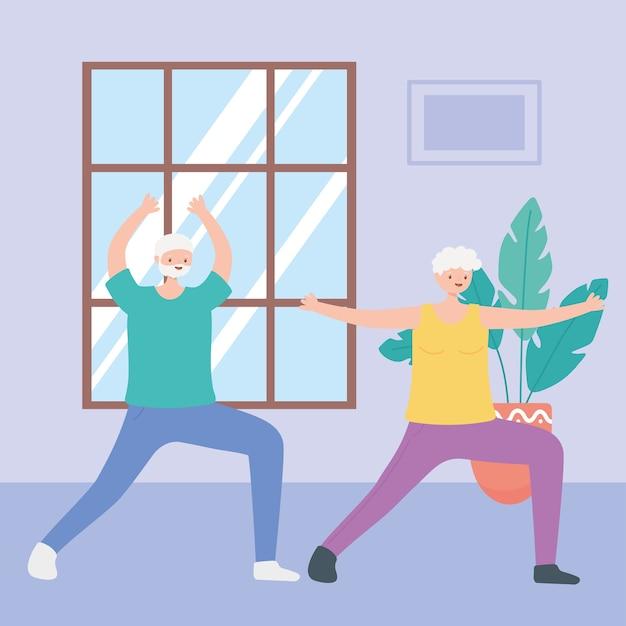 Activité seniors, grand-père et grand-mère pratiquant le yoga dans l'illustration de la salle
