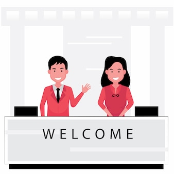 Les activités d'accueil disposent d'une réceptionniste accueillant les gens au comptoir de service