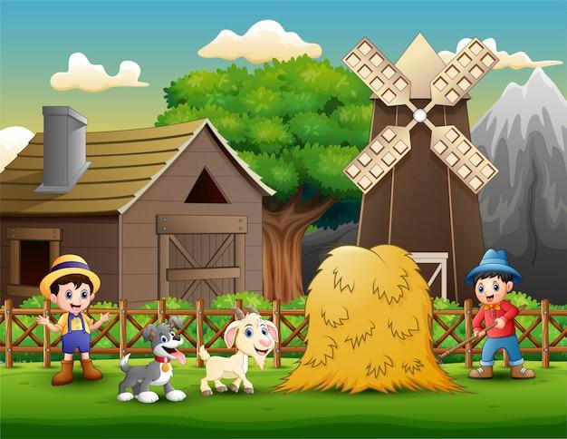 Activités agricoles dans les fermes avec des animaux