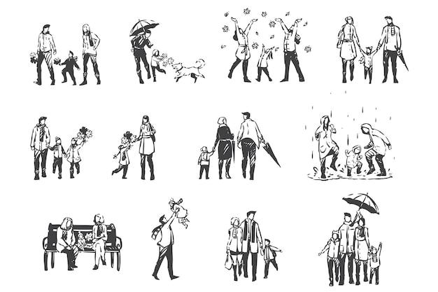 Activités d'automne, personnes en croquis de concept de vêtements demi-saison. temps pluvieux, chute de feuilles, vacances en famille dans le parc, parents et enfants ensemble sur une promenade en plein air. vecteur isolé dessiné à la main