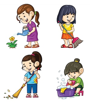 Activités de dessin animé des filles à la maison