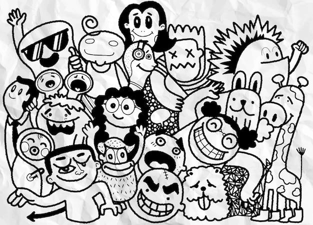 Activités ensemble de personnes drôles de doodle. modèle.