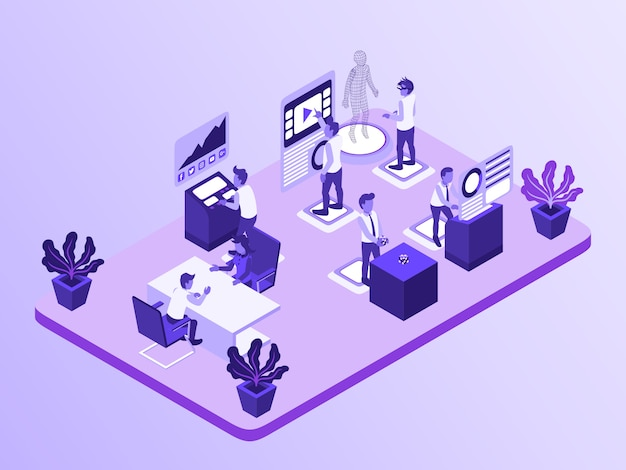Activités d'entreprise b2b agency où l'employé travaille avec la réalité virtuelle et son augmentation