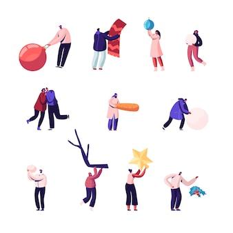 Activités de loisirs en plein air et à l'intérieur de l'heure d'hiver ensemble isolé sur fond blanc. illustration plate de dessin animé