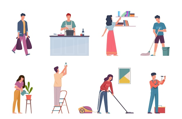 Activités ménagères. tâches ménagères, réparation et nettoyage de la maison, les gens, homme ou femme, lavent la vaisselle et le sol et passent l'aspirateur, cuisinent des personnages isolés de dessins animés vectoriels
