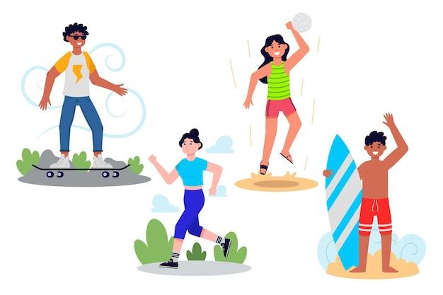 Activités de plein air d'été design plat