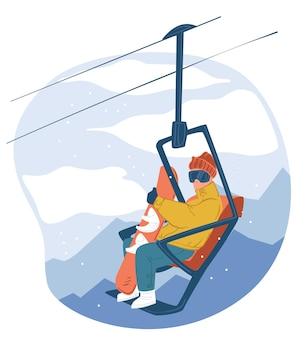 Activités de plein air hivernales en montagne. personnage avec snowboard assis sur télésiège, vacances touristiques et mode de vie. descendre des pentes et des collines, pratiquer le snowboard. vecteur dans un style plat