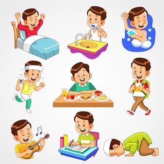 Activités quotidiennes du garçon