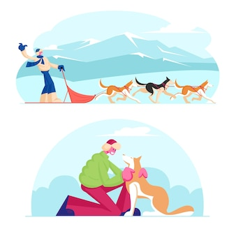 Activités de saison d'hiver et sports de vacances. illustration plate de dessin animé