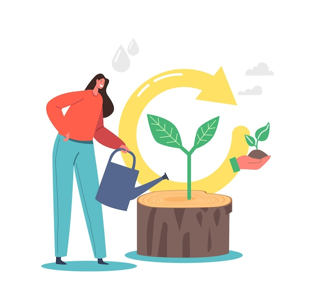 Actualiser et renouveler le concept, souche d'arrosage de personnage féminin avec pousse verte croissante et symbole de flèche de boucle de recyclage. redémarrez le projet avec une nouvelle stratégie, retravaillez l'objectif de vie. illustration vectorielle de dessin animé