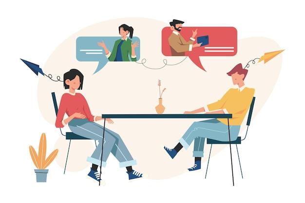 Actualités, interviews, doublage, travail d'équipe, brainstorming