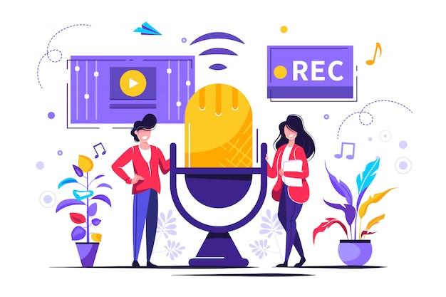 Actualités, interviews, musique, jeu de voix, enregistrement sonore
