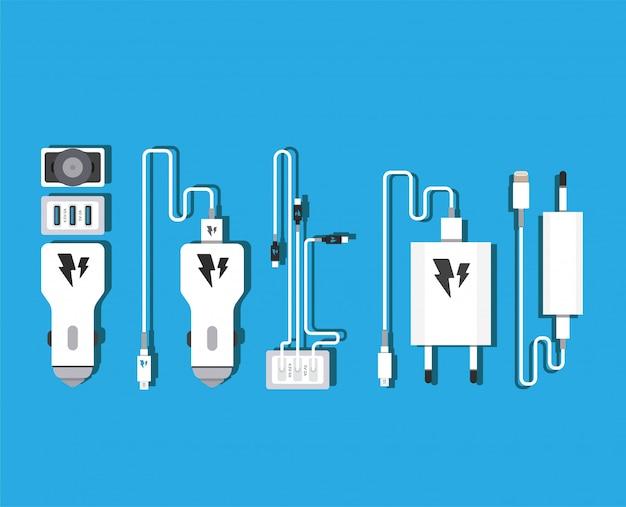 Adaptateur de chargeur usb pour smartphone avec câble micro usb (prise et connecteur pour pc et appareils mobiles)