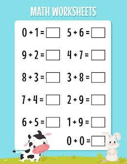 Addition mathématique pour la feuille de travail de la maternelle