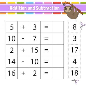 Addition et soustraction. feuille de travail pour le développement de l'éducation.