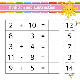 Addition et soustraction. tâche pour les enfants. feuille de travail de développement de l'éducation.
