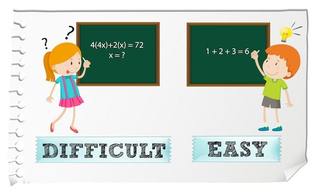 Adjectifs opposés difficiles et faciles