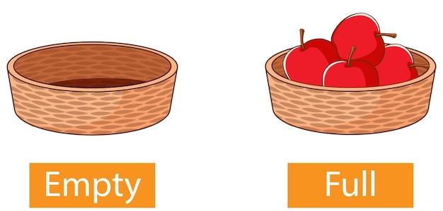 Adjectifs opposés avec vide et plein