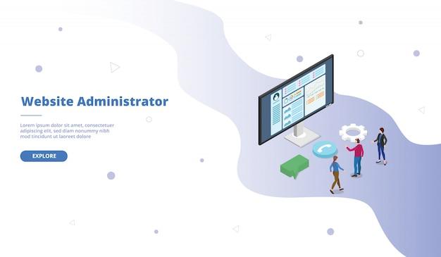 Administrateur du site web ou campagne d'administrateur pour la page d'accueil de la page d'accueil du modèle de site web avec une conception de style plat isométrique