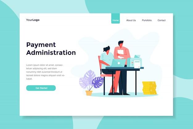 Administration des paiements avec deux personnes interactives illustration plate moderne