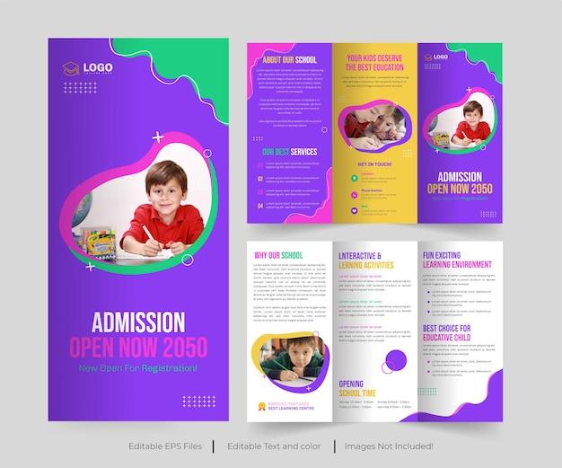 Admission à l'école brochure à trois volets ou admission au collage conception de la brochure à trois volets