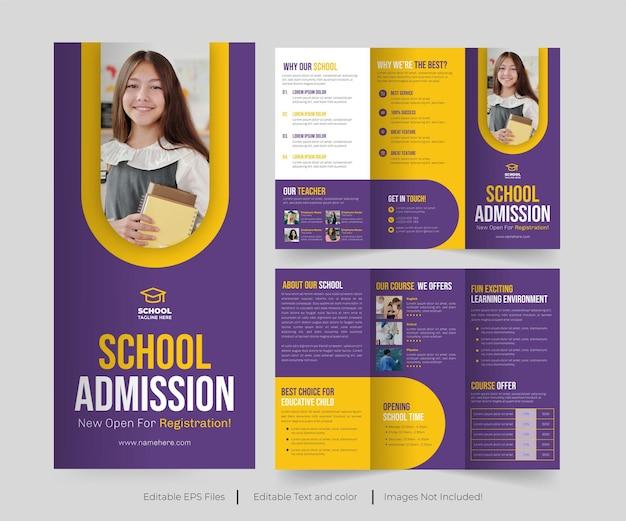Admission à l'école moderne brochure à trois volets ou admission au collage conception de la brochure à trois volets