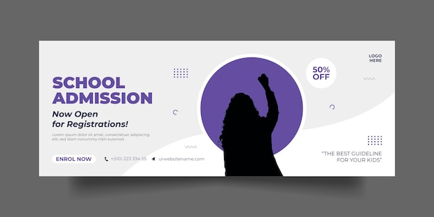 Admission à l'école page de couverture facebook modèle de publication et de bannière sur les médias sociaux