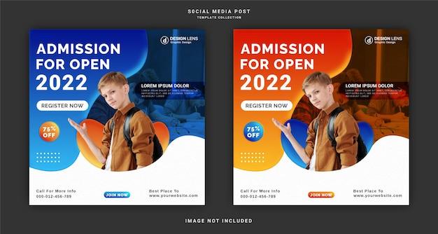 Admission pour open 2022 modèle de publication sur les médias sociaux