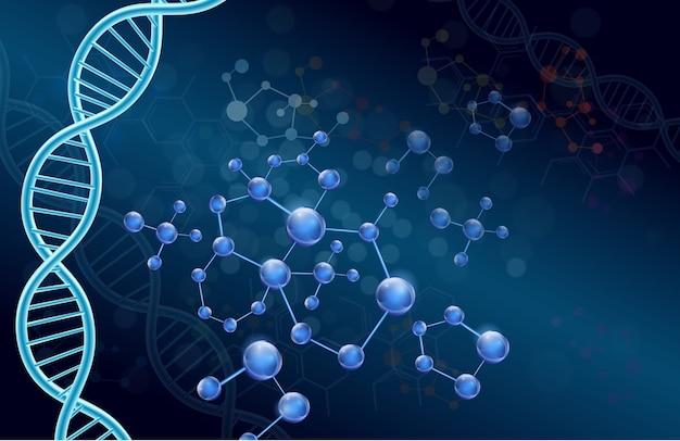 Adn et molécule sur fond bleu
