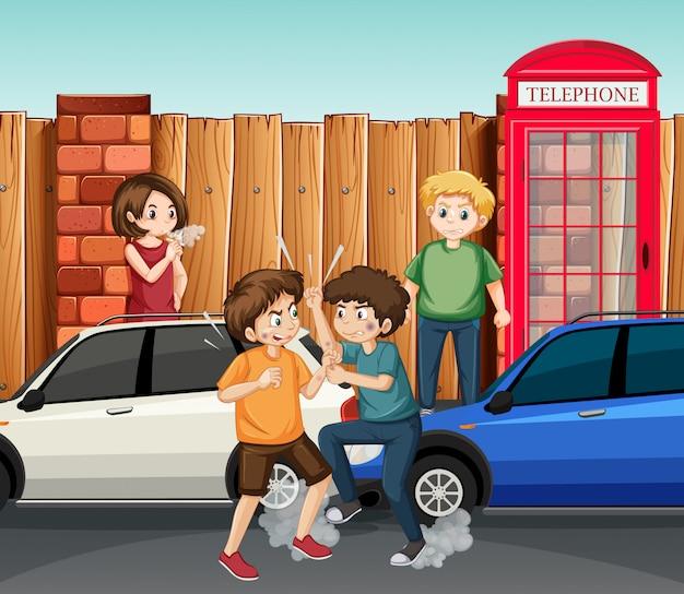 Adolescent combattant en ville