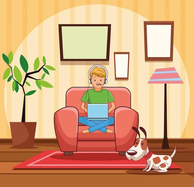 Adolescent avec dessin animé de jeu vidéo