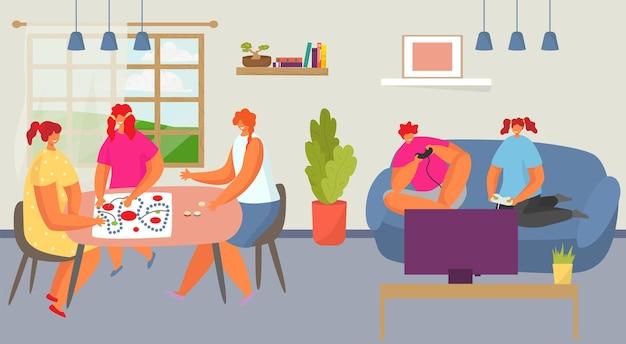 Un adolescent gai, un personnage de fille jouent ensemble à un jeu de société et à un jeu d'ordinateur, passent du temps à s'amuser à plat, illustration vectorielle, aire de jeux confortable. salle avec animation interactive, ami de communication.