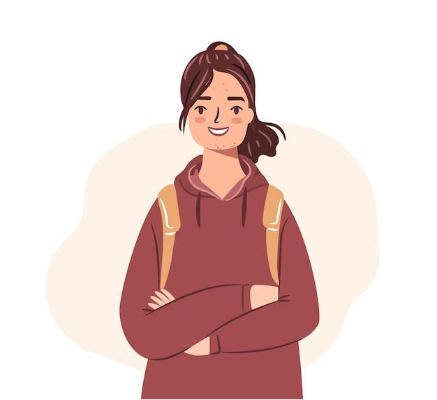 Adolescent heureux avec l'acné fille d'étudiant dans le hoodie d'isolement sur le fond blanc