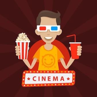 L'adolescent d'illustration sourit dans des lunettes 3d, format eps 10
