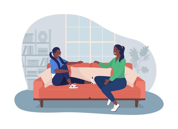 Adolescent parler avec maman 2d vector illustration isolée loisirs à la maison