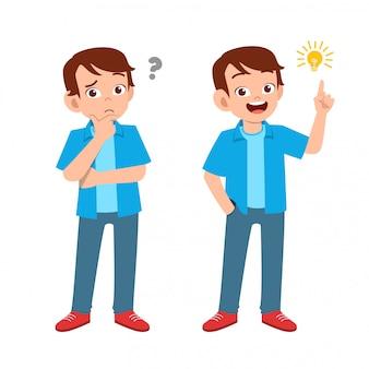 Adolescent avec plusieurs expressions de geste