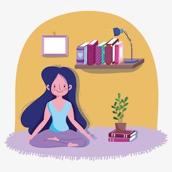 Adolescent, poser, yoga, dans, salle, activité, sport, exercice, chez soi