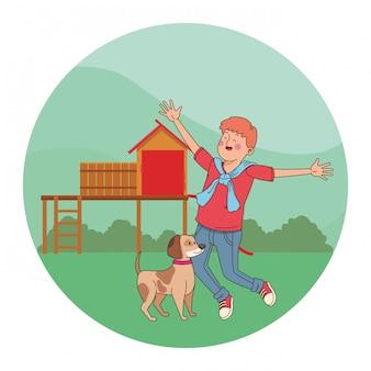 Adolescent souriant et marchant la caricature de chien