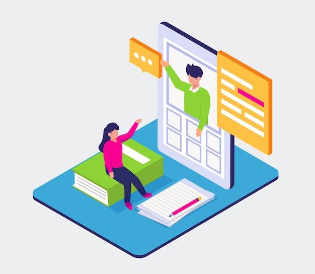 Adolescent visuel faire livre de lecture sur téléphone mobile pour éduquer, apprendre le concept en ligne, conception de l'illustration isométrique