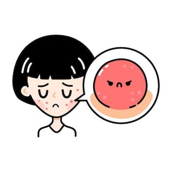 Adolescente triste mignonne avec l'acné effrayant en colère