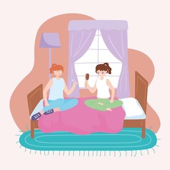 Les adolescentes se détendre dans la chambre